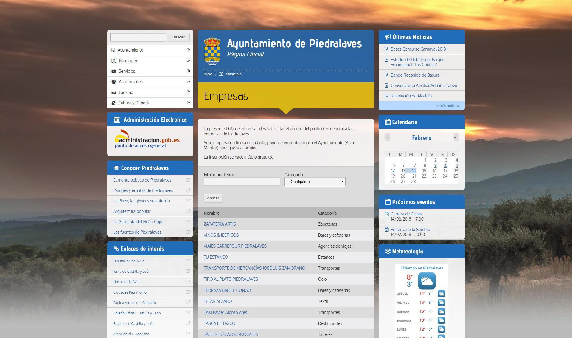 Ayuntamiento Piedralaves - Empresas